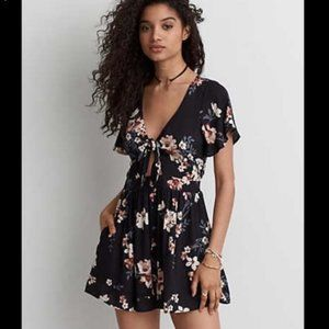 American Eagle black floral romper/onesie S small